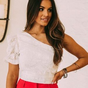Embroidered One Shoulder Top